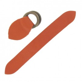 Leather strap with double D rings, Corail - coral