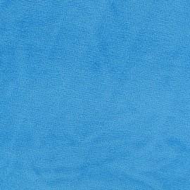 Tissu velours éponge jersey azurin x 10 cm