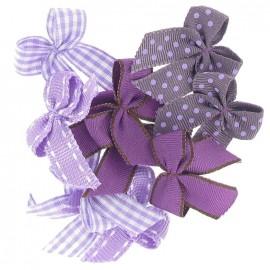 A pack of 10 bows 3cm x 3cm iron-on applique - purple