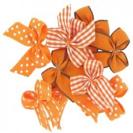 A pack of 10 bows 3cm x 3cm iron-on applique - orange
