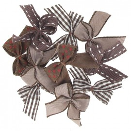 A pack of 10 bows 3cm x 3cm iron-on applique - chocolate