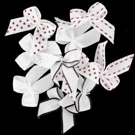 A pack of 10 bows 3cm x 3cm iron-on applique - white