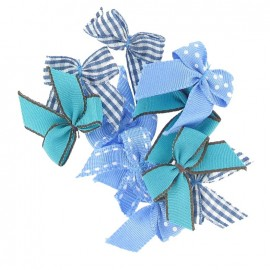A pack of 10 bows 3cm x 3cm iron-on applique - blue