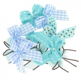 A pack of 10 bows 3cm x 3cm iron-on applique - turquoise