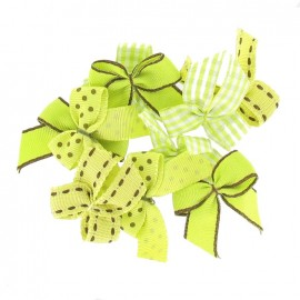 A pack of 10 bows 3cm x 3cm iron-on applique - lime