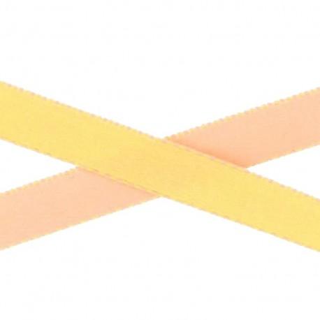 Ruban satin bicolore jaune/saumon10 mm