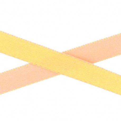Two-tone Satin Ribbon, overstitched 10mm - yellow/salmon
