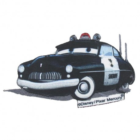"Canvas ""Cars"" Sheriff iron-on applique - black"