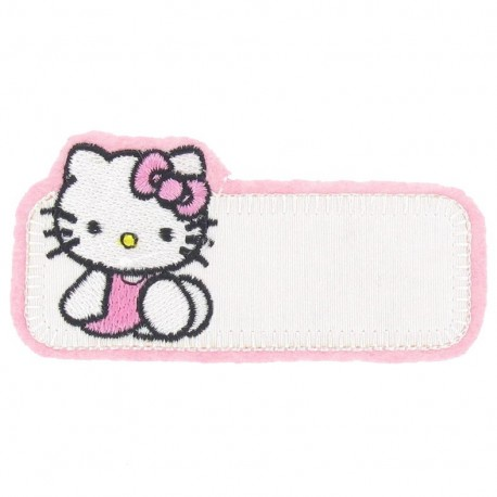 """Label """"Name"""" Hello Kitty iron-on patch - pink"""