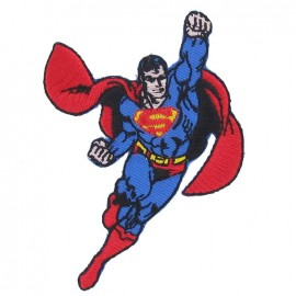 Embroidered Superman B iron-on applique - blue/red