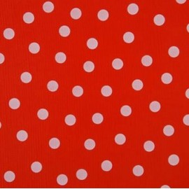 ♥ Coupon tissu 30 cm X 120 cm ♥ toile cirée pois blancs sur rouge