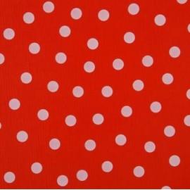 Tissu toile cirée pois blancs sur rouge x 10cm