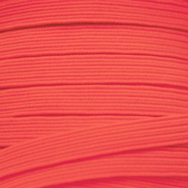 Flat elastic 6 mm - Fluorescent orange-pink