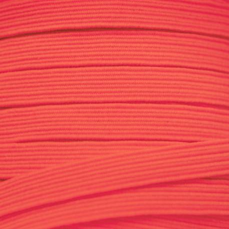 Elastique plat 8mm Fluo rose orangé