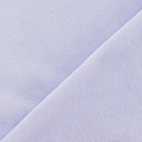 Tissu velours éponge jersey parme x 10cm