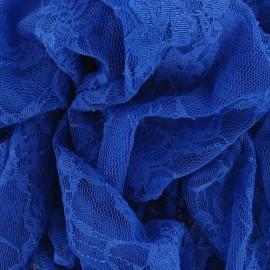Tissu Dentelle Fleurie bleu acier x 10cm