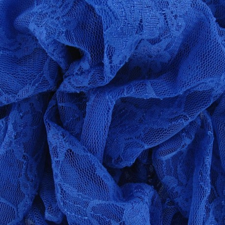 Flowery Lace Fabric - Steel Blue x 10cm