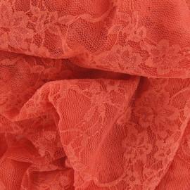 Tissu Dentelle Fleurie corail x 10cm