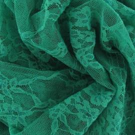 Tissu Dentelle Fleurie vert prairie x 10cm