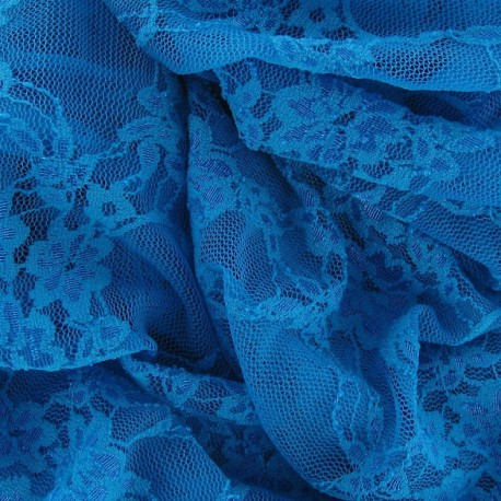 Flowery Lace Fabric - Turquoise Blue x 10cm