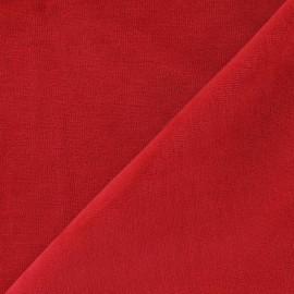 Tissu velours éponge jersey rouge x 10cm