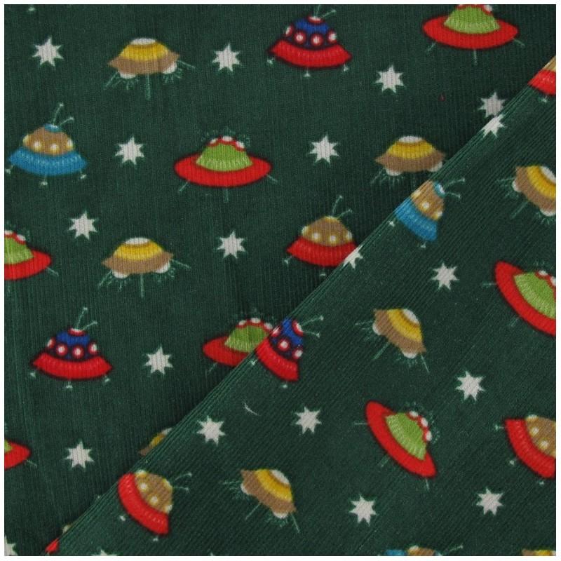 Tissus pas cher tissu velours milleraies spaceship vert for Spaceship fabric