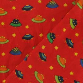 Tissu velours milleraies Spaceship rouge x 10cm