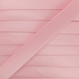 Satin bias binding, 20 mm - pink camay