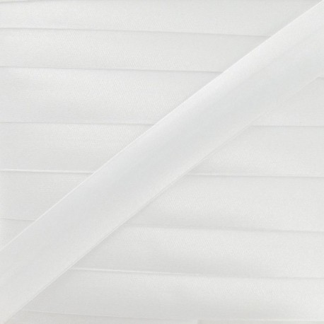 Satin bias binding, 20 mm - white
