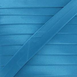 Satin bias binding, 20 mm - turquoise