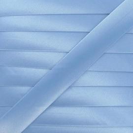 Satin bias binding, 20 mm - sky blue