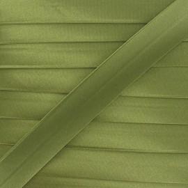 Satin bias binding, 20 mm - olive green