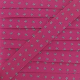 Bias binding, France Duval silver stars - fuchsia