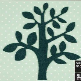 Felt-fabric Tree iron-on applique - dark green