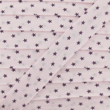 Froufrou bias binding, Star, delicate plum B - pale pink/purple