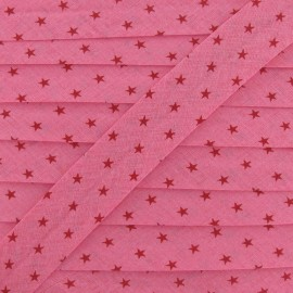 Froufrou bias binding, Star, shiny Ruby B - fuchsia/red