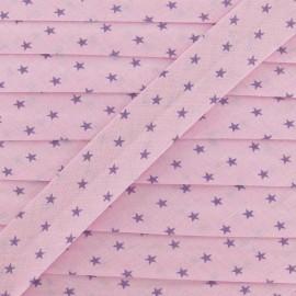 ♥ Coupon 140 cm ♥ Froufrou bias binding, Star, rosy lavender - pink/purple