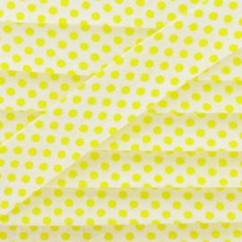 Biais coton à pois jaune/blanc