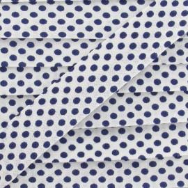 Biais coton à pois marine/blanc
