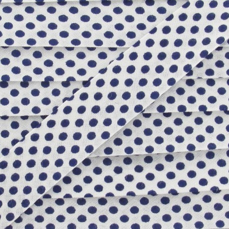 Cotton bias binding, with navy polka dots - white