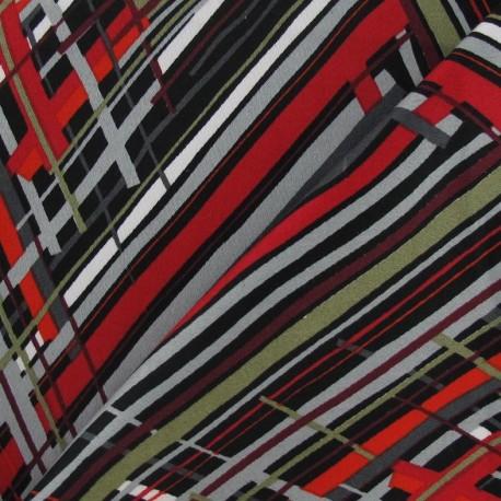 Multi Zigzag Gabardine Fabric - Red x 10cm