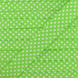 Cotton Bias binding,with white polka dots - lime