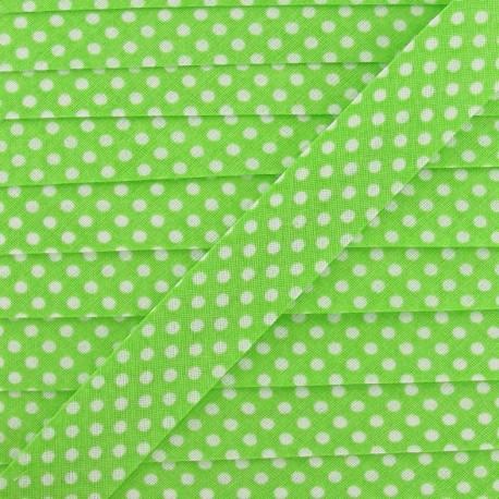 Cotton Bias binding,with white polka dots - lime