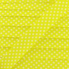 Biais coton à pois blanc/jaune