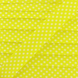 Cotton Bias binding,with white polka dots - yellow