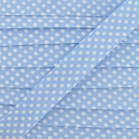 Cotton Bias binding,with white polka dots - sky blue