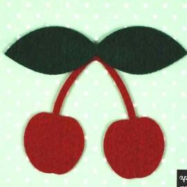 Felt-fabric Cherry iron-on applique - red/green