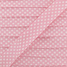 Cotton Bias binding with white polka dots - pink