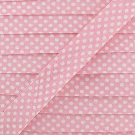 Biais coton à pois blanc/rose