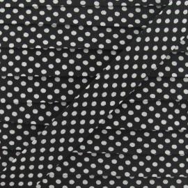 Biais coton à pois blanc/noir
